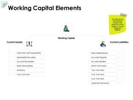Working Capital Elements Current Assets Ppt Powerpoint Presentation Icon Backgrounds