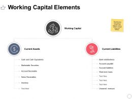 Working Capital Elements Ppt Powerpoint Presentation Styles Diagrams