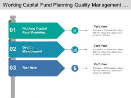 Working Capital Fund Planning Quality Management Asset Management
