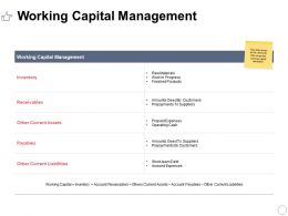 Working Capital Management Ppt Powerpoint Presentation Topics