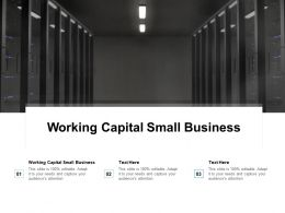 Working Capital Small Business Ppt Powerpoint Presentation Ideas Influencers Cpb
