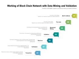 Working Of Block Chain Network With Data Mining And Validation