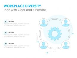 Workplace Diversity Icon With Gear And 4 Persons
