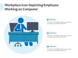 Workplace Icon Depicting Employee Working On Computer