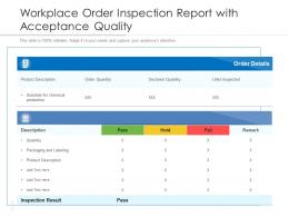 Workplace Order Inspection Report With Acceptance Quality