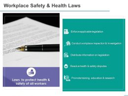 Workplace Safety And Health Laws Safety Disputes Ppt Powerpoint Presentation Inspiration
