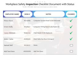 Workplace Safety Inspection Checklist Document With Status