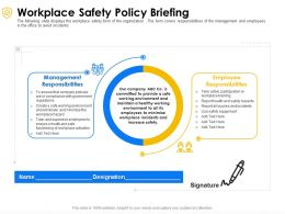 Workplace Safety Policy Briefing Employee Ppt Powerpoint Presentation File Diagrams