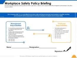 Workplace Safety Policy Briefing Ppt Powerpoint Presentation Ideas Slides