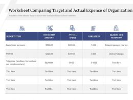 Worksheet Comparing Target And Actual Expense Of Organization