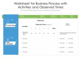 Worksheet For Business Process With Activities And Observed Times