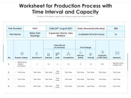 Worksheet For Production Process With Time Interval And Capacity