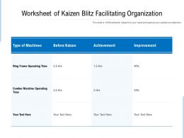 Worksheet Of Kaizen Blitz Facilitating Organization