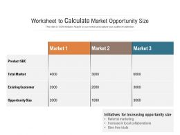 Worksheet To Calculate Market Opportunity Size
