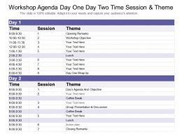 Workshop Agenda Day One Day Two Time Session And Theme