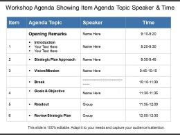 Workshop Agenda Showing Item Agenda Topic Speaker And Time