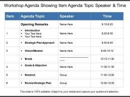 Workshop Agenda Showing Item Agenda Topic Speaker And Time
