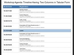 Workshop Agenda Timeline Having Two Columns In Tabular Form