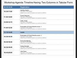Workshop Agenda Timeline Having Two Columns In Tabular Form