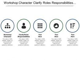 Workshop Character Clarify Roles Responsibilities Understand Logistics Create Team