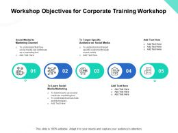 Workshop Objectives For Corporate Training Workshop Ppt Powerpoint Presentation Ideas