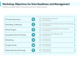 Workshop Objectives For Data Readiness And Management