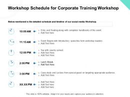 Workshop Schedule For Corporate Training Workshop Ppt Powerpoint Presentation Icon