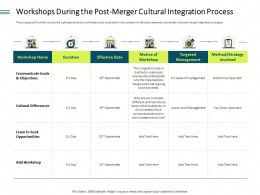 Workshops During The Post Merger Cultural Integration Process Deal Ppt Icon Gallery