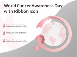 World Cancer Awareness Day With Ribbon Icon