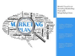 World Cloud Icon Showing Marketing Plan With Magnifying Glass