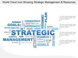 World Cloud Icon Showing Strategic Management And Resources