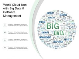 World Cloud Icon With Big Data And Software Management