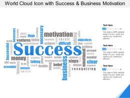 World Cloud Icon With Success And Business Motivation