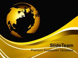 World Globe On Brown Background PowerPoint Templates PPT Themes And Graphics 0213