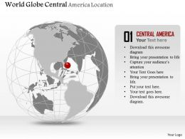World Globe With Central America Location Ppt Presentation Slides