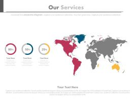 World Map For Our Services And Percentage Powerpoint Slides