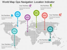 World Map Gps Navigation Location Indicator Flat Powerpoint Design