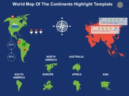 World Map Of The Continents Highlight Template