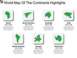 World Map Of The Continents Highlights