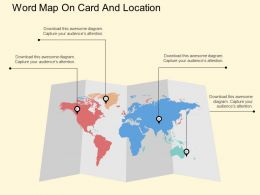 World Map On Card And Location Ppt Presentation Slides