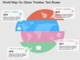 World Map On Globe Timeline Text Boxes Flat Powerpoint Design