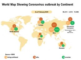 World Map Showing Coronavirus Outbreak By Continent
