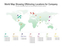 World Map Showing Offshoring Locations For Company