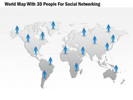 World Map With 3d Peoples For Social Networking Ppt Presentation Slides