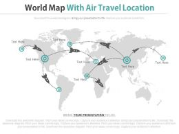 World Map With Air Travel Location Powerpoint Slides
