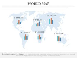World Map With Bar Chart And Financial Growth Powerpoint Slides