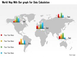 World Map With Bar Graphs For Data Calculation Ppt Presentation Slides