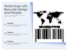 World Map With Barcode Design And People