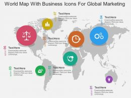 World Map With Business Icons For Global Marketing Ppt Presentation Slides