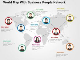 World Map With Business Peoples Network Ppt Presentation Slides